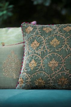 VELVET STORY More #velvets for your home! Our collection of cushions bring an enchanted garden to life with embroidered and printed florals on rich silk velvet, perfect for your living room. #PillowTalk #Cushions #JoyInTheEveryday