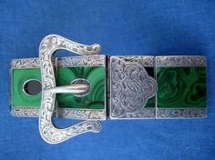 GOOD ANTIQUE VICTORIAN SCOTTISH SILVER & MALACHITE BUCKLE STRAP BRACELET 1860s