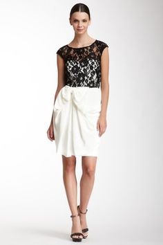 HauteLook   Black & White: Notte by Marches Short Sleeveless Silk Lace Knit Dress