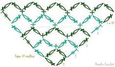 Chal triangular en punto nudo de salomón o espuma de mar a crochet o ganchillo - Mundo Crochet