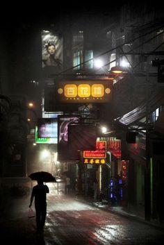 Dark city streets, wet down, neon.#noirnation