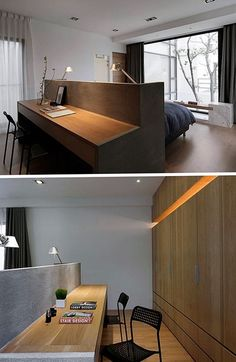 Bedroom Design Idea This Bed Has A Desk Built Into The Back Of The Master Bedroom Decor Master Bedroom Sets Master Bedroom Set, Bedroom Desk, 3 Bedroom Apartment, Apartment Interior, Home Bedroom, Desk Bed, Mirrored Bedroom, Bedroom Simple, Bedroom Rustic