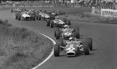 1967, Nürburgring, German GP, Jim Clark (Lotus 49) leads the field at the start