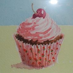 Watercolour cupcake, original I studied to try watercolor painting today:)