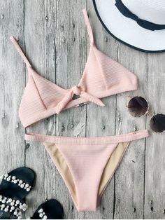 Front Tied Textured Thong Bikini Set - PINK M