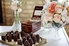 Cigar Bar- for birthday?  I like the idea of the petit fours instead of cupcakes.  I little more elegant.