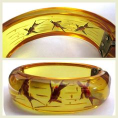 Vintage prystal bakelite bracelet, reverse carved and painted fish clamper, Art Deco. Always authentic, American vintage bakelite at Lake Girl Vintage and this is one of the most sought after pieces Art Deco Jewelry, Vintage Jewelry, Vintage Clothing, New Artists, Bangle Bracelets, Bangles, Artisan Jewelry, Apple Juice, Vintage Outfits