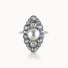 BELLE EPOQUE DIAMOND AND PEARL NAVETTE CLUSTER RING