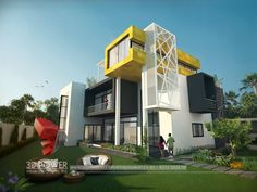 A great ultra modern bungalow design gives a complete new style statement to your dream project. Bungalow style means different things to different people and is therefore not a particularly pre… Unique House Design, House Front Design, Cool House Designs, Modern Bungalow Exterior, Bungalow House Design, Beautiful Modern Homes, Ultra Modern Homes, Small House Floor Plans, Modern House Plans