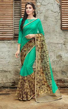 Buy Rajjo Net Rama Designer Saree Online | Sareeslane.com Engagement Saree, Sarees Online India, Green Saree, Designer Sarees Online, Saree Styles, Woman Clothing, Dressing, Sari, Bridal