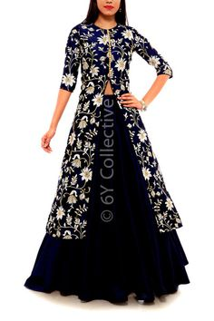 Navy Lehenga with Chintz Embroidery Jacket