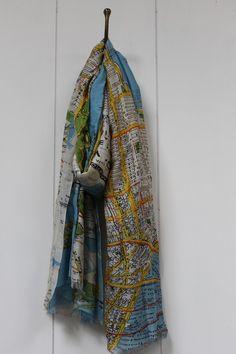 New york city map scarf blue