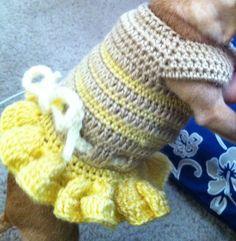 Ravelry: Summer Fun Dog Dress Pattern pattern by Cobos Closet Crochet Dog Sweater Free Pattern, Dog Pattern, Crochet Dog Clothes, Cute Dog Clothes, Small Dog Sweaters, Dog Clothes Patterns, Animal Fashion, Dog Dresses, Popsicle Stick Crafts