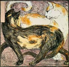 Two Cats (sketch) - Franz Marc as art print or hand painted oil.