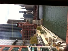 View of the Chicago River from the CTA Brown Line Film World, Chicago River, My Kind Of Town, Chicago Bears, Travel Ideas, Pond, Cool Photos, Cities, Ocean