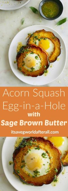 Acorn Squash Eggs-in-a-Hole with Sage Brown Butter - a savory and healthy breakfast recipe with acorn squash! Drizzled with sage brown butter. A simple yet gourmet-like breakfast recipe using a delicious combination of seasonal flavors. Healthy Sweet Snacks, Healthy Breakfast Recipes, Vegetarian Recipes, Cooking Recipes, Healthy Recipes, Healthy Breakfasts, Savory Breakfast, Breakfast Ideas, Healthy Life