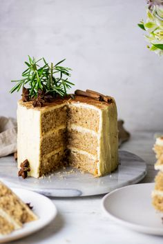 This Chai spiced cake is lusciously fluffy and tender with each layer sandwiched between a mouthwatering brown butter buttercream. The perfect brunch snack. #chaidesserts #cake #egglessdesserts #eggfree #chaispicedcake #chaicake Spice Cake Recipes, Healthy Cake Recipes, Best Cake Recipes, Chai Cake Recipe, Favorite Recipes, Eggless Desserts, Baking Tins, Eat Dessert First, Brown Butter