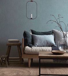 Borstapeter Linen Shadow Blue, Wall Paper Collection I Remodelista