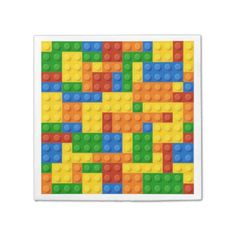 Colorful bright mosaic toy bricks pattern napkin - diy cyo customize create your own personalize