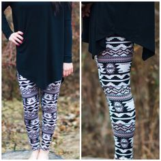 Aztec fleece leggings!!   www.thehydeboutique.com