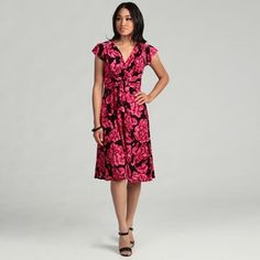 @Overstock - A vibrant pink floral pattern brings a stunning look to this lovely Evan Picone dress. Flutter sleeves, pleating around a V-neckline and a shirred waistband with a bow detail highlight this incredible jersey dress.   $64.99
