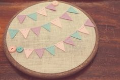 Items similar to Embroidery Hoop Art. Three Row Felt Bunting with Vintage Style Buttons Pretty in Pastel Collection By Catshy Crafts on Etsy Felt Crafts Diy, Felt Diy, Crafts To Sell, Crafts For Kids, Wedding Ideas To Make, Felt Bunting, Felt Tree, Felt Patterns, Embroidery Hoop Art