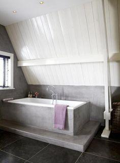 badkamer zolder betonlook more ideeën badkamers badkamer zolder ...