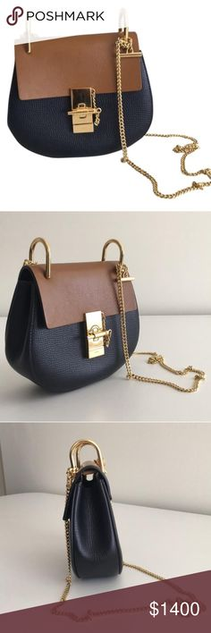 Chloé -SOLD-Chain shoulder bag Two-tone chain Chloe drew leather shoulder handbag. Never worn. Color full blue(very dark)/mustard(tan) Chloe Bags Shoulder Bags