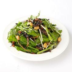 「江戸菜とひじきのサラダ」 しゃきしゃきした食感の江戸菜(小松菜の品種改良)と大豆と干し野菜のうまみを含んだひじきを合わせた和風サラダ  Cafe & Meal MUJI(カフェアンドミールムジ)