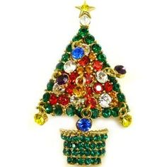 Butler & Wilson Crystal Christmas Tree Brooch - Green