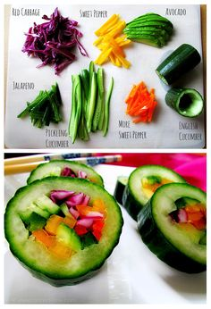 Cucumber sushi. Add fish, meat or whatever you want.