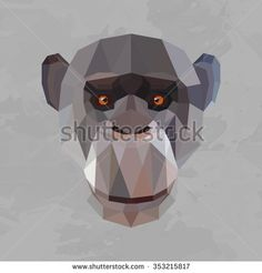 Monkey colored head geometric lines isolated on grey background vintage vector design element illustration