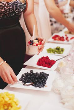 A party bar (sometimes called food stations) makes any party instantly more festive… the following 16 ideas will not only make your party more memorable, but also less stressful. With a food party bar, guests can make their own dish according to their tastes… extra marshmallows, no problem… don't like olives, no big deal…