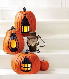 lanterns painted on pumpkins, pattern, Christmas, Fall, Thanksgiving,