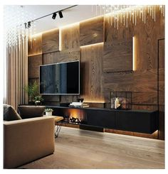 Living Room Wall Units, Living Room Tv Unit Designs, Home Living Room, Home Room Design, Home Interior Design, Interior Decorating, Modern Tv Room, Modern Luxury Bedroom, Luxury Living