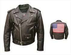 Mens Buffalo Leather Motorcycle Jacket with USA Flag by Allstate Leather.  www.mymotorcycleclothing.com