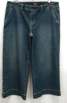 Lilly Pulitzer Women's 10 Denim Capri Pants Wide Leg Green Thread Trim  #LillyPulitzer #CaprisCropped