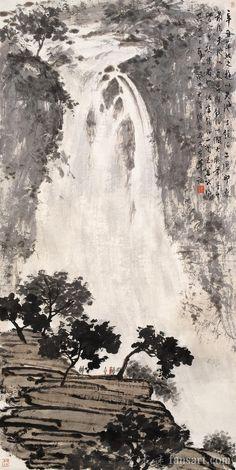 傅抱石国画作品欣赏_国画作品欣赏 Japan Landscape, Pastel Landscape, Landscape Art, Landscape Paintings, Chinese Landscape Painting, Chinese Painting, Chinese Art, Japan Painting, Ink Painting