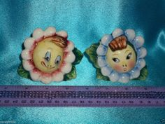 Old Vintage Anthropomorphic Happy Sun Flower Face Girls Salt Pepper Shakers Set