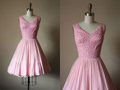 50s Dress  Vintage 1950s Dress  Pink Silver Lurex by jumblelaya