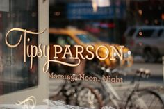 Beautiful signage at Tipsy Parson in New York City