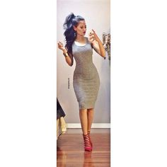 How cute is this simple gray knitted midi dress Excited to style it so many different ways! I love the soft cotton feel to it Find it now Business Casual Outfits, Dressy Outfits, Dope Outfits, Elegant Dresses, Cute Dresses, Short Dresses, Skirt Fashion, Fashion Dresses, Women's Fashion