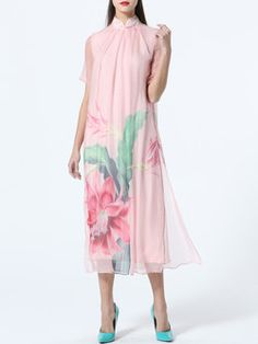 Pink Silk Floral Short Sleeve Midi Dress