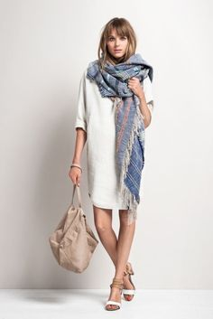 oversized scarf and knee length shift