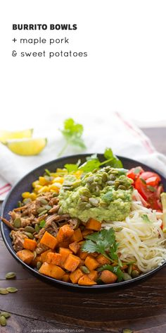 Fall Burrito Bowls with Maple Pork, Sweet Potatoes and Pepitas, an easy week-night dinner ready in 30 minutes! @sweetpeasaffron