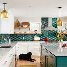 Kitchen Redo, New Kitchen, Kitchen Remodel, Kitchen Ideas, Eclectic Kitchen, Kitchen Interior, Modern Kitchen Tiles, Green Tile Backsplash, Kitchen Backsplash Diy