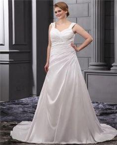 Strass Rüschen Schultergurte Court Plus Size Brautkleid Brautkleid