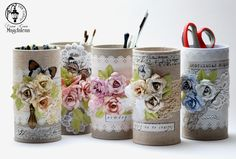 Recycle tin cans for organizing picture Tin Can Crafts, Metal Crafts, Fun Crafts, Diy And Crafts, Paper Crafts, Tin Can Art, Recycled Tin Cans, Pot A Crayon, Diy Y Manualidades