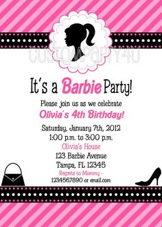 Vintage Silhouette Barbie Doll Birthday by on Etsy Barbie Birthday Party, Barbie Party, 4th Birthday, Birthday Parties, Birthday Ideas, Vintage Silhouette, Birthday Invitations, Invites, Favor Tags