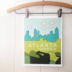 Atlanta, Georgia // Typographic Print, City Skyline, Digital Print, Travel Theme, Nursery Art, Kids Room Decor, Braves, Falcons INTRO // The fine city of Atlanta, Georgia available in 1 of 3 color combos. You can also request custom colors at no additional charge! Just send me a convo or an email and well set something up. :D This is a high quality giclee print of an original ink drawing that has been carefully digitally painted and had additional type added. DETAILS &... Atlanta Art, Atlanta Georgia, Art Kids, Different Textures, Travel Themes, Falcons, Nursery Art, Custom Framing, Fine Art Paper